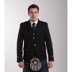 Deluxe Black Wool Argyll Jacket
